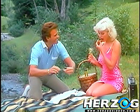 Fabulous and lean vintage blonde playgirl on the picnic blows rod