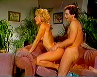Blonde white milf with saggy boobs having sex on the ottoman