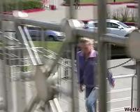 Amateur Russian blondie makes water on the highway bridge