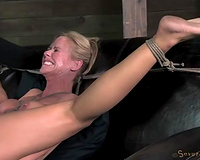 Exquisite experienced MILF-tastic Simone gagged and screwed