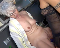 Flabby granny in lesbo workout with her brunette mother I'd like to fuck GF