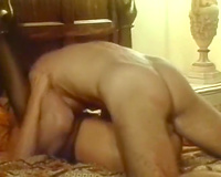 Sexy white blond cheating wife gives awesome head on the sofa