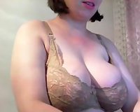 Mix of fat sexually excited milfs satisfying themselves in bedroom with sex-toy