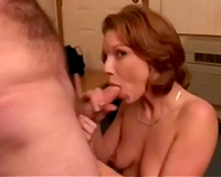 Redhead excited white dirty slut wife eagerly eats schlong on her knees