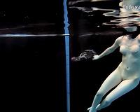 Slender pale skin Russian harlots in the pool undressed