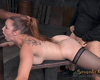 Curvy dark brown in nylons acquires drilled from behind by 2 masters