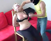 Tormenting breasty golden-haired hotwife in filthy amateur BDSM episode