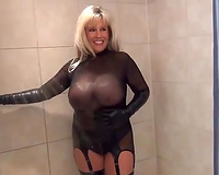 You gotta love it when a breasty mother I'd like to fuck is showering on web camera