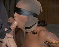 Wicked wench with nylon hose on her head receives throatfucked