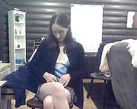 Slutty secretary masturbating with big sex toy in the office