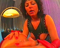 Nice vintage porn of sexy brunette hair doing anal and taking creampie