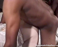 Dirty blond tramp Kandi group-fucked by an interracial company of males