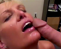 Mature blond hooker sucks large 10-Pounder in the office