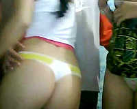 Two beautiful Latina web camera nubiles show off their round asses