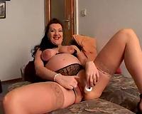Wicked masturbation solo of my breasty preggy brunette hair hotwife