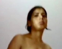 Busty Indian brunette hair white women dressing up in saree on livecam