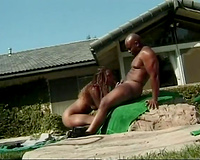 Steamy dark couple has ardent oral job sex outdoors