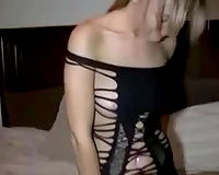 Blond haired kinky girlie takes my dick in her shaved twat for hawt ride