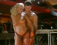 Depraved blondie loved to ride her allies giant ramrod