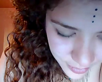 Curly non-professional web camera whore screwed herself with giant white vibe