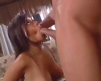 Stunning brunette hair lassie blows ramrod and receives actively gangbanged