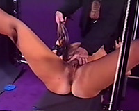 Whipping the bushy cum-hole of my slutty wife and fucking her in the face hole