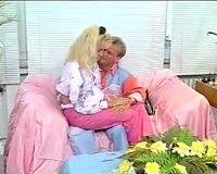 Passionate retro blondie has oral sex with persistent bastard