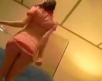 My slim excited brunette GF can't live without dancing in her erotic mode
