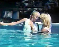 Insatiable and lustful golden-haired beauties in the pool attracted to every other