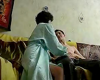 Brunette Russian mamma fucking youthful slim stud on the bed