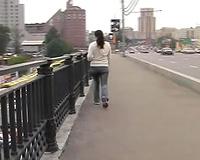 Just an amateur dark brown playgirl in jeans peeing in her panties in public
