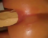 Training my ravishing pink anus with thirty inch lengthy monster sex tool