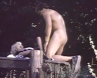 Gorgeous maid in crotchless hose acquires drilled outdoors