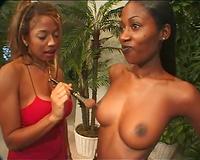Stunning swarthy girlfriends make a hawt dilettante lesbo clip
