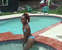 Kinky ebon girl exposes her body relaxing in jacuzzi