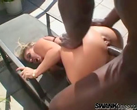 Big dark knob fucking her constricted white snatch outdoors