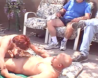 Redhead Married slut blacked by chaps as hubby watches