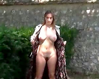 Furry cum-hole French BBC slut flashing her body in public sex in toilets