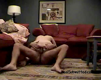 Pale skin white redhead BBC slut rides her likes on the floor