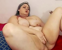big beautiful woman bitch pushing moist twat with large sex toy in solo clip