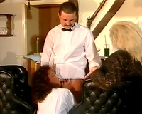 Two hot and lewd waitresses loved to acquire drilled by their manager