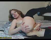 Stocking Brunette Had Some Fun With Her Pussy And Butthole