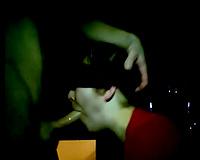 Blindfolded chunky white hottie in the dark room on livecam