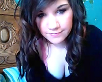 Cute brunette hair legal age teenager teases me on web camera and masturbates