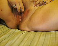 Enjoy watching my skanky older horny white wife petting her obscene wet crack with vibro egg
