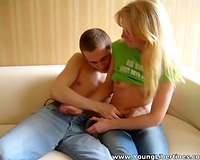 A super sexy non-professional blondie rides a big 10-Pounder of her ally