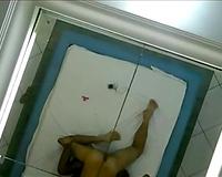 Curvy Brazilian hooker screwed in sideways position in front of mirror