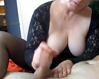 Playful blonde mom gives a footjob and cook jerking to my massive cock