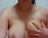 Nerdy bosomy brunette hair playgirl with soaked large rack was fingerfucking herself
