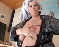 My slutty dark-haired white women rubs her pussy after shower